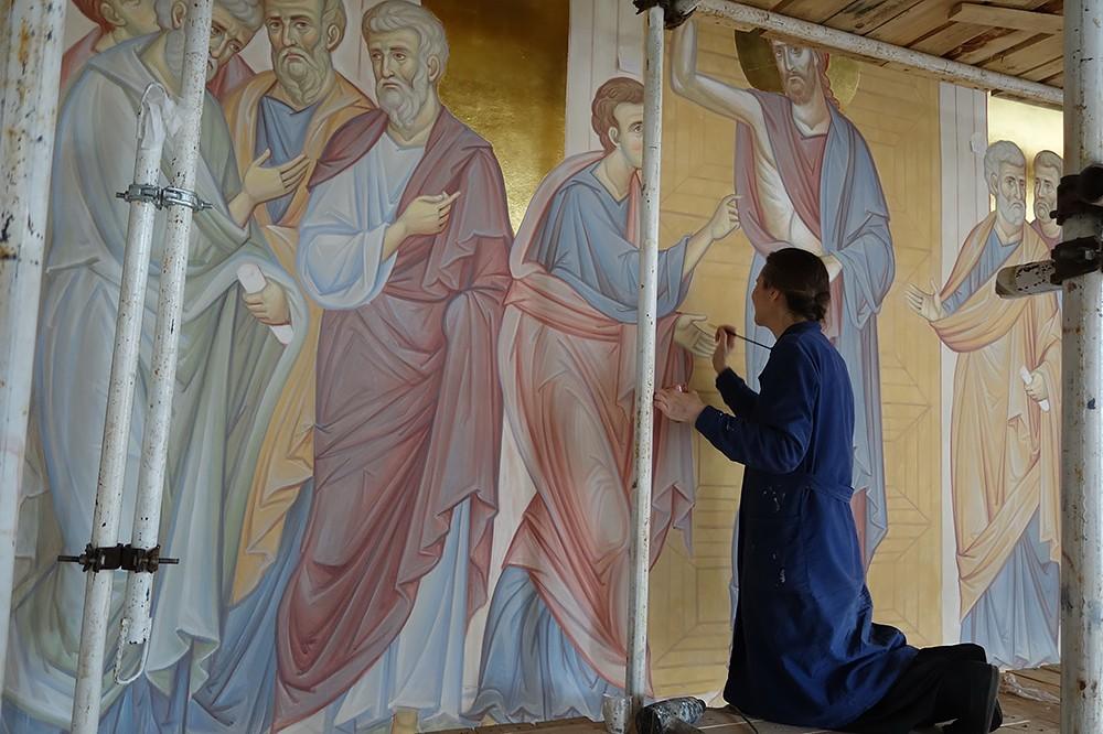 Уверение Фомы. Работа над фреской