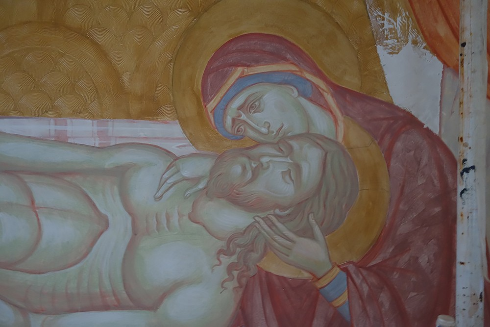 Снятие со Креста. Работа над росписью. Фрагмент