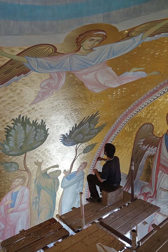 Вознесение Господне. Работа над фреской