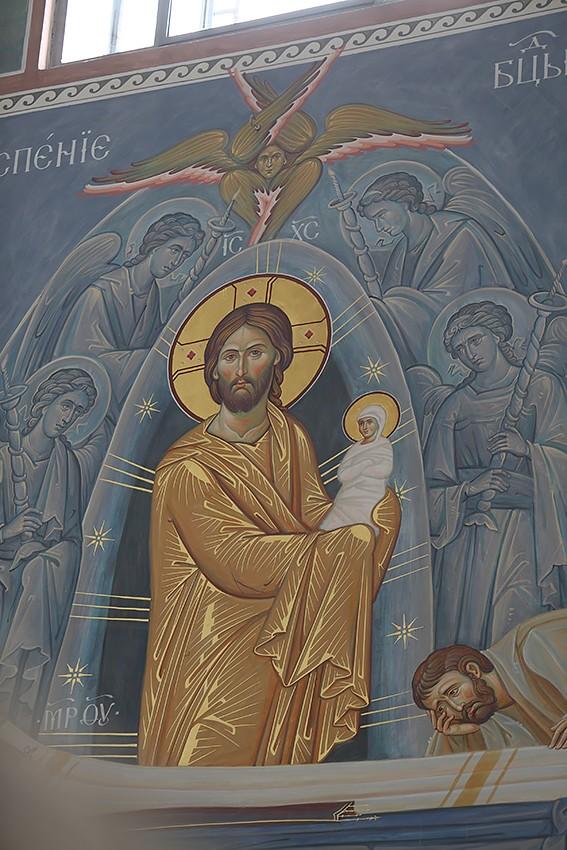 Господь с душой Пресвятой Богородицы. Фрагмент фрески «Успение Божией Матери»