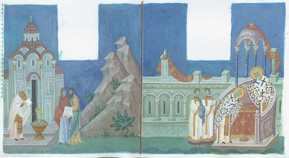 Крещение святителя Николая. Хиротония во епископы святителя Николая. Эскиз в цвете