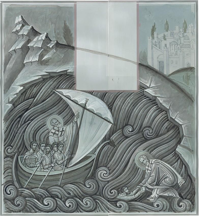 Спасение моряков святителем Николаем. Эскиз в цвете
