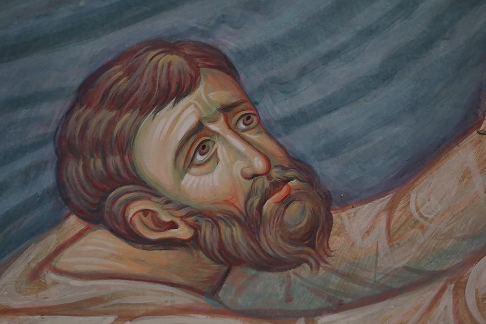 Утопающий. Фрагмент фрески «Спасение моряков святителем Николаем»