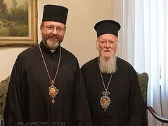 Pat. Bartholomew discusses ecumenical relations in Vatican with Ukrainian Uniate leader