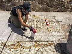Archaeologists uncover mosaic floor from 5th century church near Sea of Galilee