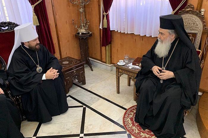 Митрополит Волоколамский Иларион встретился с Патриархом Иерусалимским Феофилом III