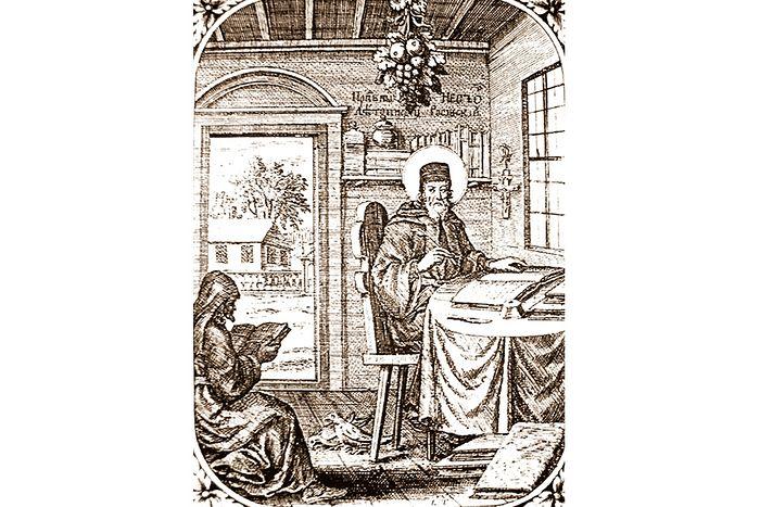 Преподобный Нестор Летописец. Гравюра из Патерика 1702 г.