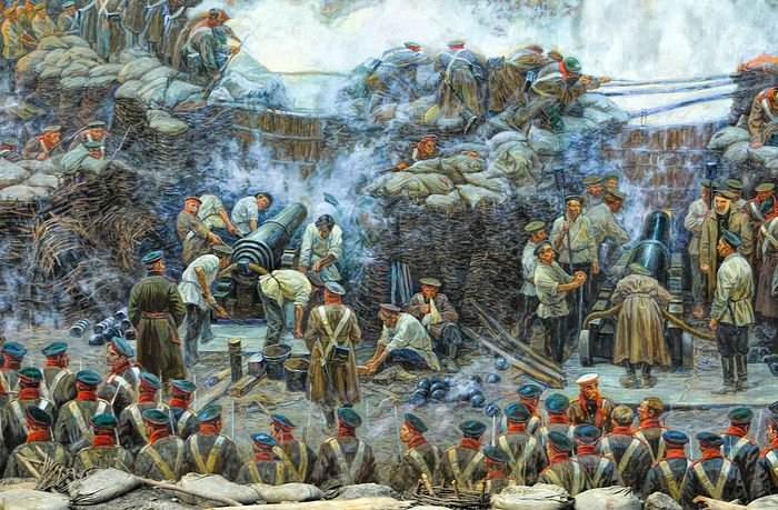 Деталь панорамы Франца Рубо «Оборона Севастополя»