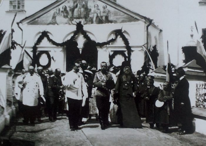 Emperor Nicholas II and Archbishop Tikhon leave the Dormition Cathedral in the Rostov Kremlin.