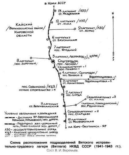 Схема лагпунктов Вятлага