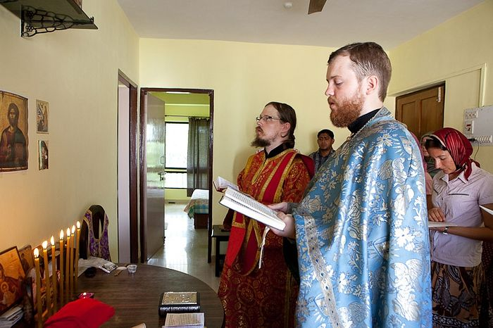 Priest Alexei Zabelin and Deacon Georgy Maximov at a service in the Orthodox community, Goa