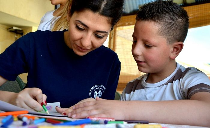 IOCC-supported Dream Centers in Syria are safe spaces for play, learning, and psychosocial support that help children and caregivers deal with trauma and difficult experiences. Photo: GOPA-DERD.