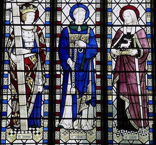 Stained glass window with St.Osyth at right: Lexden Parish church, Colchester. St.Helena, depicted in the left window, is the Patron Saint of Colchester.