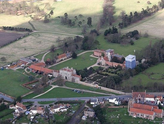 St.Osyth village with the medieval abbey centre and SS Peter & Paul church lower right corner. Nun's Wood is extreme top left corner.