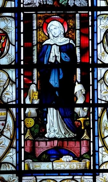 Stained glass window in SS Peter & Paul church, village of St.Osyth
