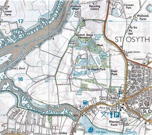 Location of St.Osyth village, the medieval Abbey and SS Peter & Paul church