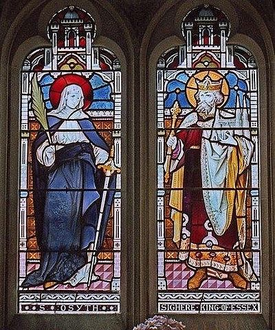 St.Osyth and King Sighere: window in St.Osyth's Chapel, St.Osyth's Priory