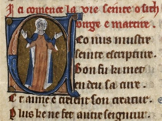 The beginning of a Life of St.Osyth from a 12th century French manuscript in the British Library.