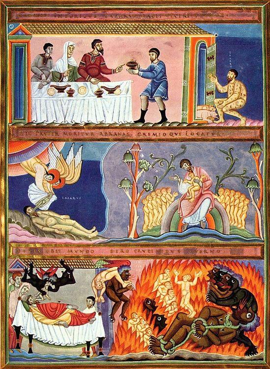 The Rich man and Lazarus, illumination, Meister des Codex Aureus Epternacensis 001. Wikipedia.