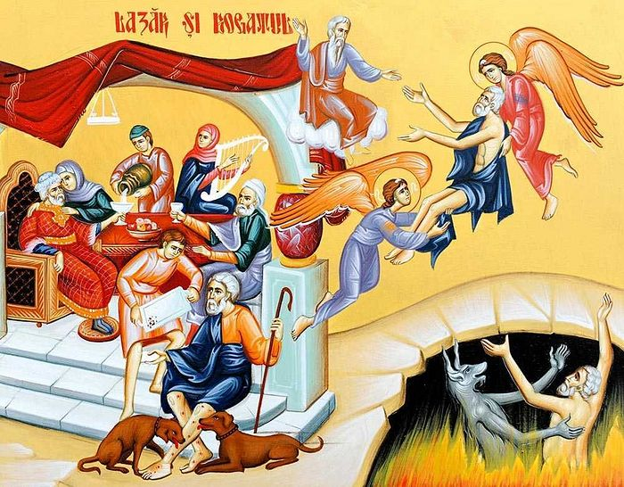 Лазарь и богач. Современная фреска. Румыния