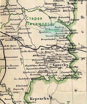 С. Старая Пичиморга на карте Тамбовской губ 1911 года