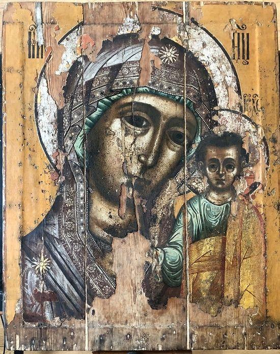 The Kazan Icon before restoration. Photo: foma.ru