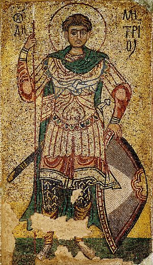 "Demetrius of Thessaloniki. A mosaic of the Cathedral of Archangel Michael at St. Michael's ""Golden-Domed"" Monastery in Kiev"