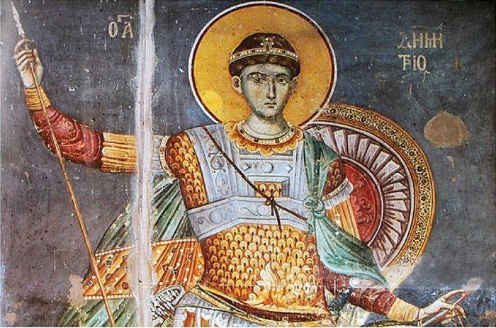 Великомученик Димитрий Солунский. Фрагмент фрески