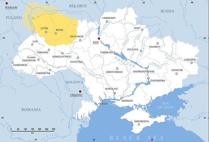Volhynia roughly corresponds to the area in yellow. Photo: Wikipedia