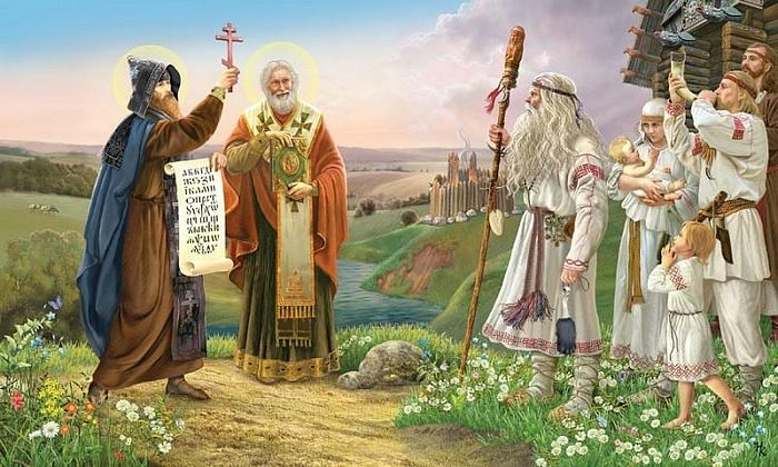 Saint Methodius is dressed as a bishop, holding the Gospel on the right.