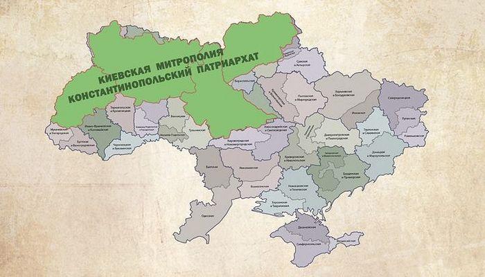 Историческая Киевская митрополия по сравнению с нынешней Украиной. Фото: spzh.news