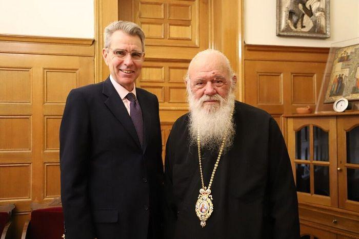 Archbishop Ieronymos with American Ambassador Geoffrey Pyatt. Photo: orthodoxianewsagency.gr