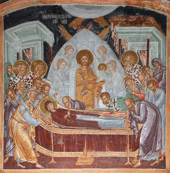 Η Κοίμηση της Υπεραγίας Θεοτόκου. Η τοιχογραφία της αρχαίας σερβικήςεκκλησίας πουχτίστηκεστην ΙεράΜονήΑγίου Παύλου. Φώτο: À. Ποσπέλοφ / Pravoslavie.Ru