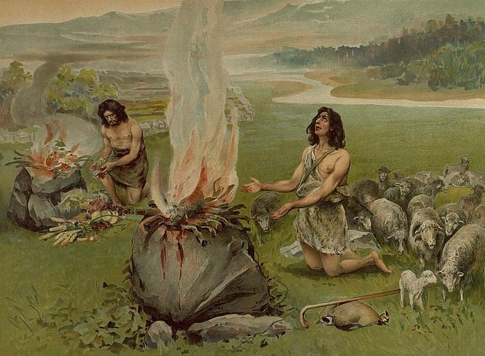 Cain and Abel are offering sacrifices.