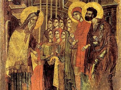 The Entrance of the Most Holy Theotokos into the Temple<br> Icons, Frescoes, Mosaics