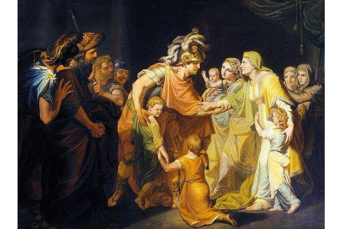 И.А. Акимов. Великий князь Святослав, целующий мать и детей по возвращении с Дуная в Киев. 1773 г.