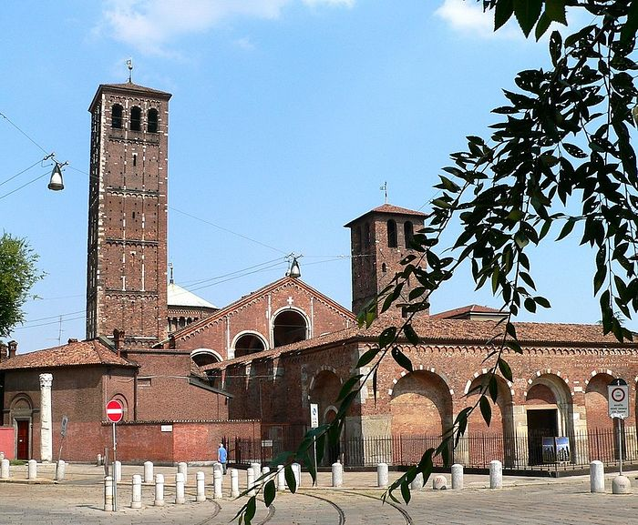 The Basilica of St. Ambrose of Milan, built in 379-386 by St. Ambrose on the place of the burial of early Christian martyrs
