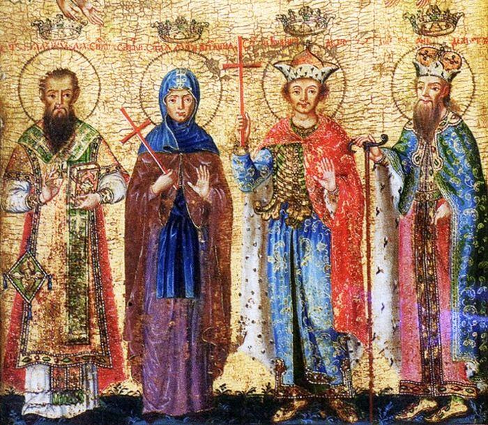 Святые Бранковичи: cвт Максим, прп. Англина, св. Иоанн и св. Стефан Слепой. Икона 1753 г. Никола Нешкович