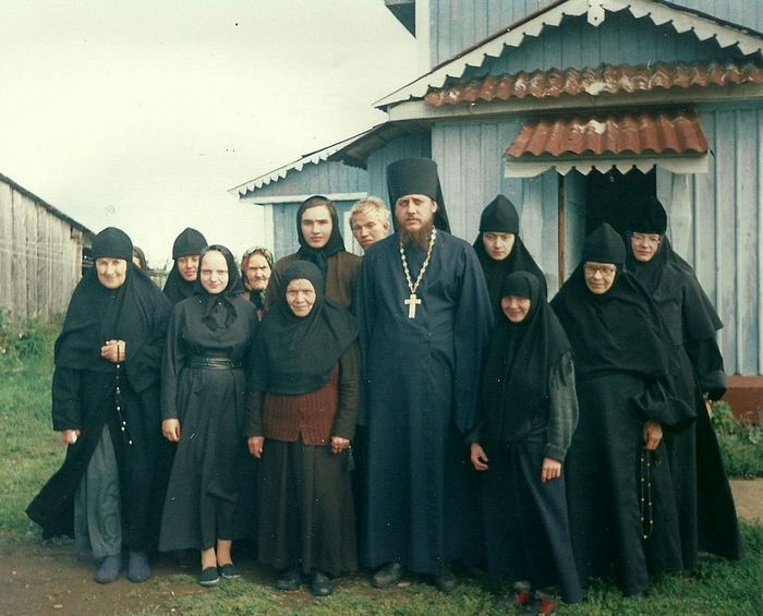 The monastic community at Miteinaya Hill; Nun Xenia is to the right of Fr. Savvaty