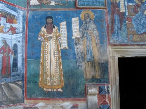 Прп. Даниил Исихаст с митр. Григорием (Рошкой). Монастырь Воронец, XVI в.