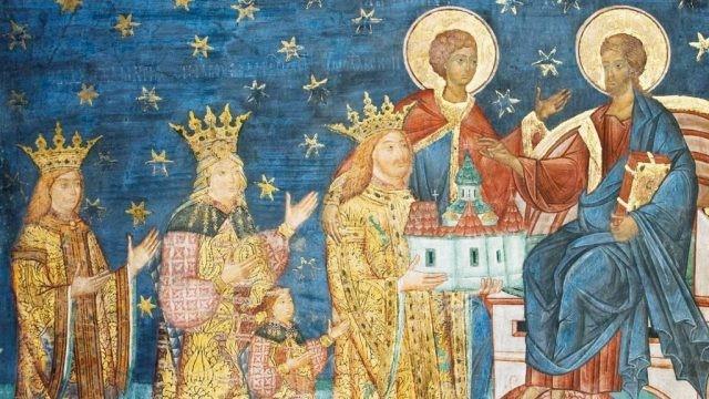 Храмоздатель св. Стефан Великий с семейством. Фреска, монастырь Путна, 1488 г.