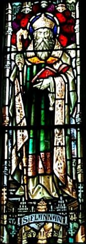 Витраж с изображением свт. Фланнана