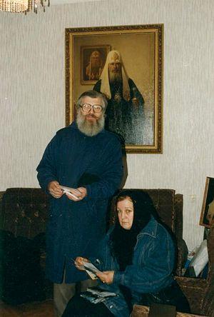 Алексей Валерьевич с Искрой (в Крещении Александрой) Андреевной Бочковой у отца Тихона (Шевкунова)