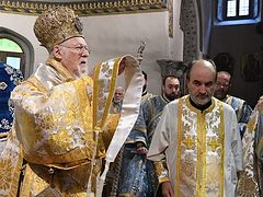 Patriarch Bartholomew ordains priest for Church of Cyprus at Liturgy with schismatic Ukrainian bishop