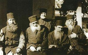 Афонская келлия Благовещения, 1977 г. Крайний справа – архимандрит Клеопа (Илие)