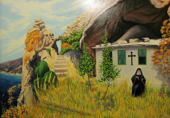 Старец Иосиф Исихаст около своей кельи