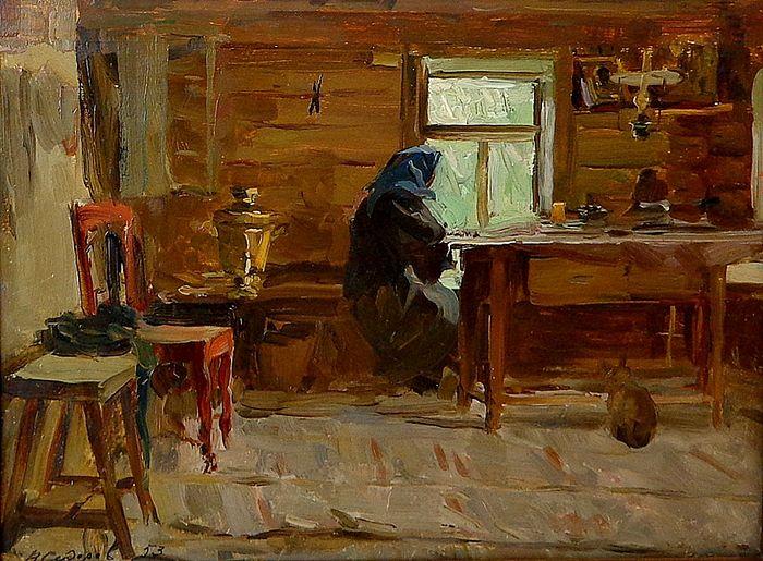 Бабушка у окна. Дожди. Художник: Валентин Сидоров. 1953