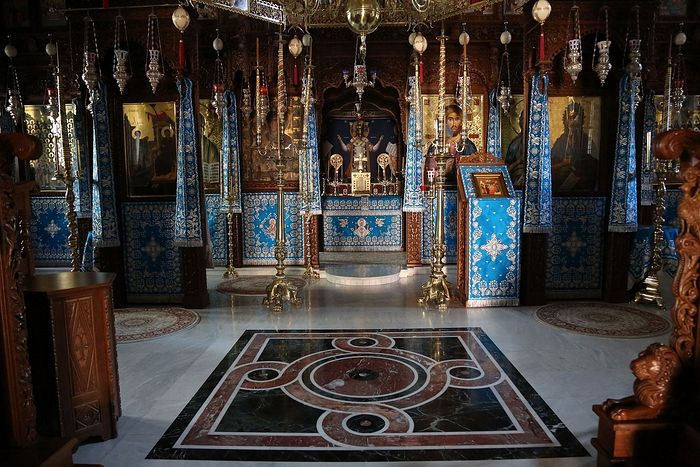 The monastery church bedecked in blue, the color of the Mother of God