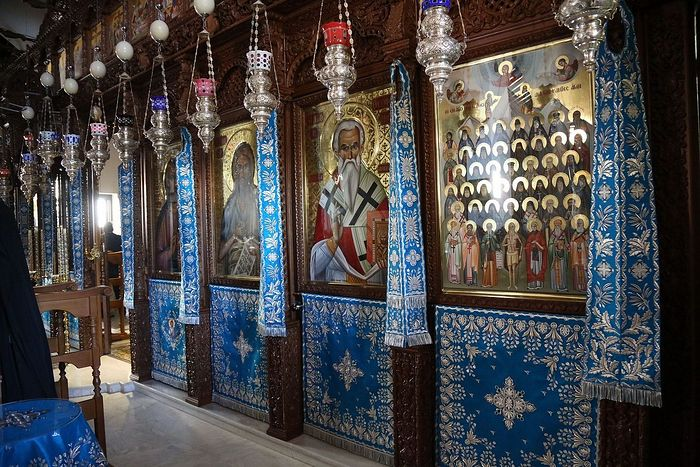 The iconostasis in blue for the Mother of God