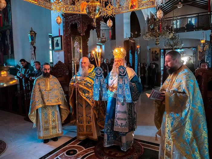 Metropolitan Athanasios, Abbot Archimandrite Paisios, and Elder Zacharias concelebrating the Liturgy